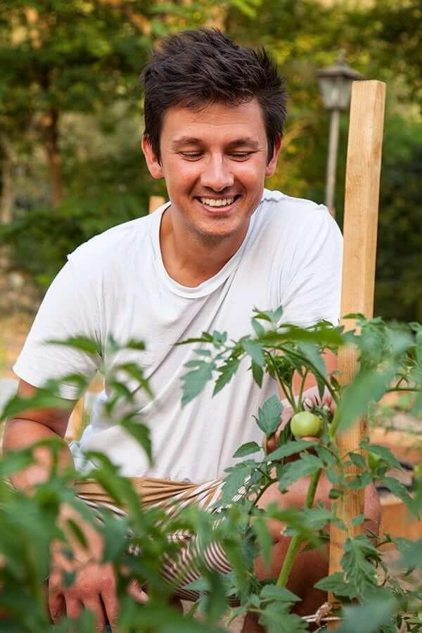 Henry con piante di canapa