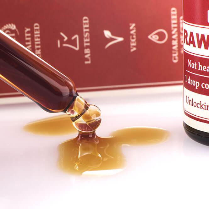 raw hemp oil on the table