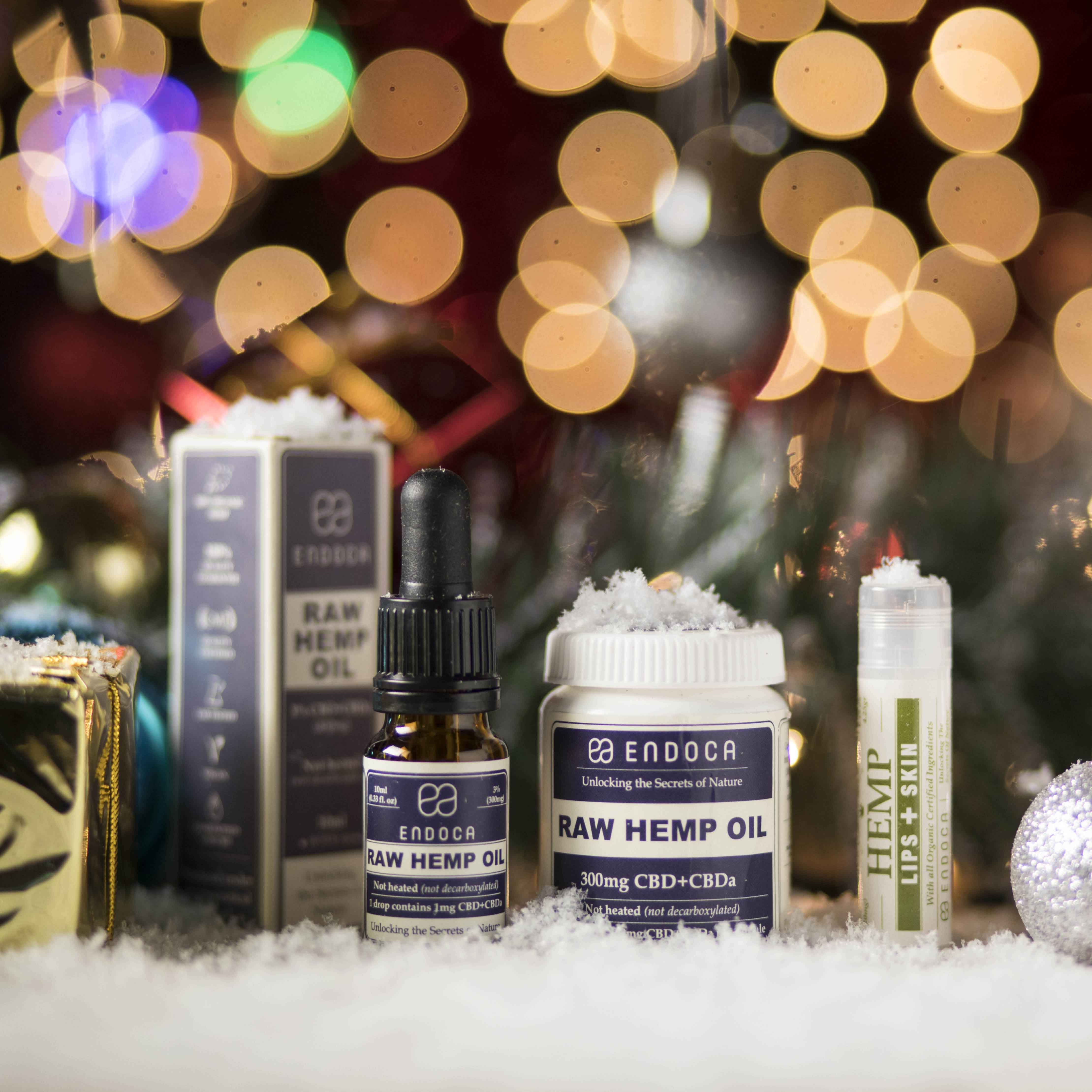 Endoca products in Christmas snow setting