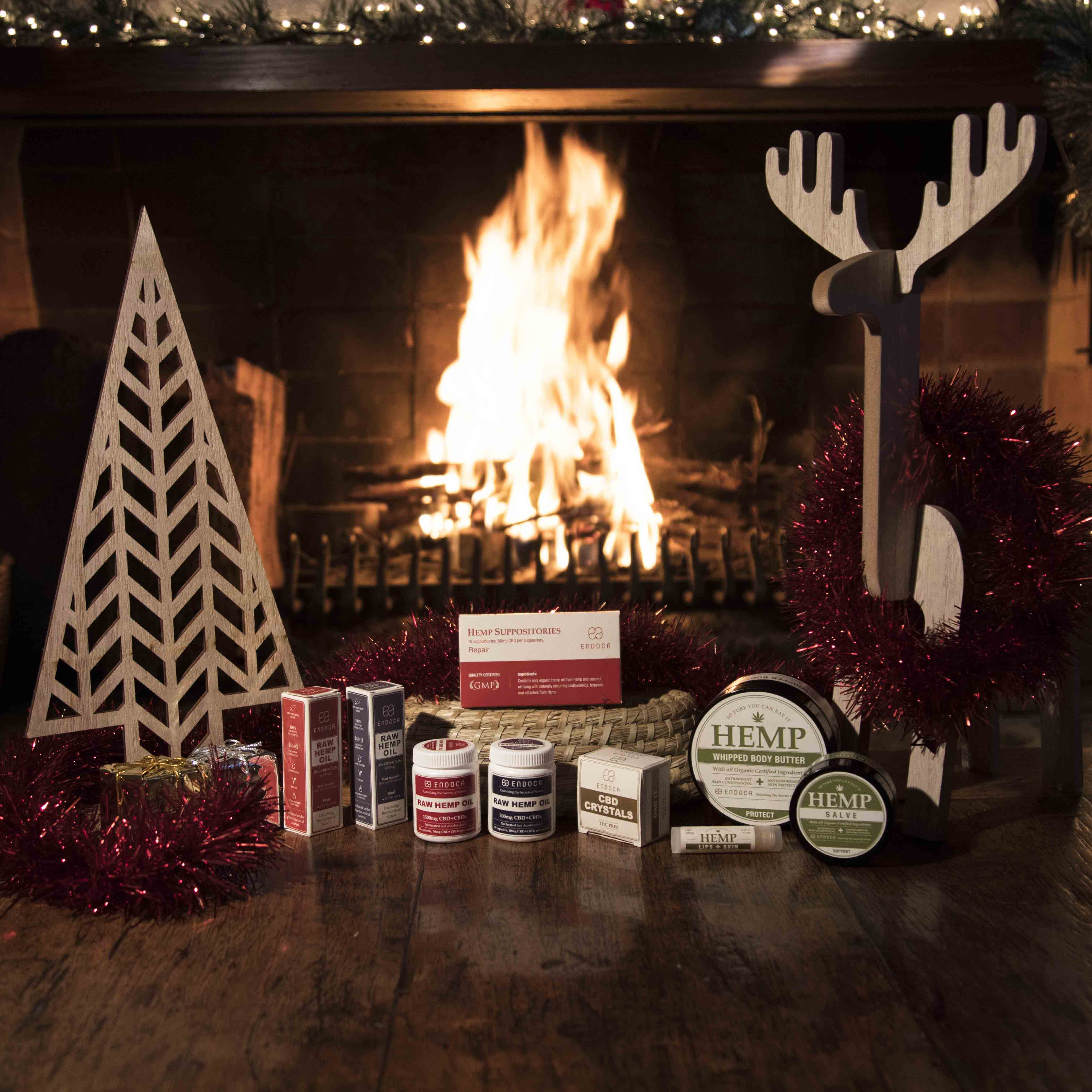 Endoca products near a Christmas fire
