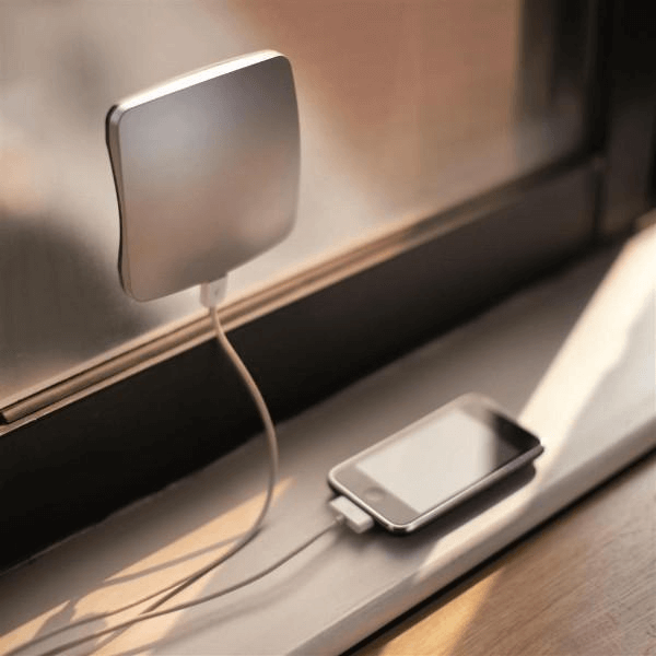 Solar phone charger on window
