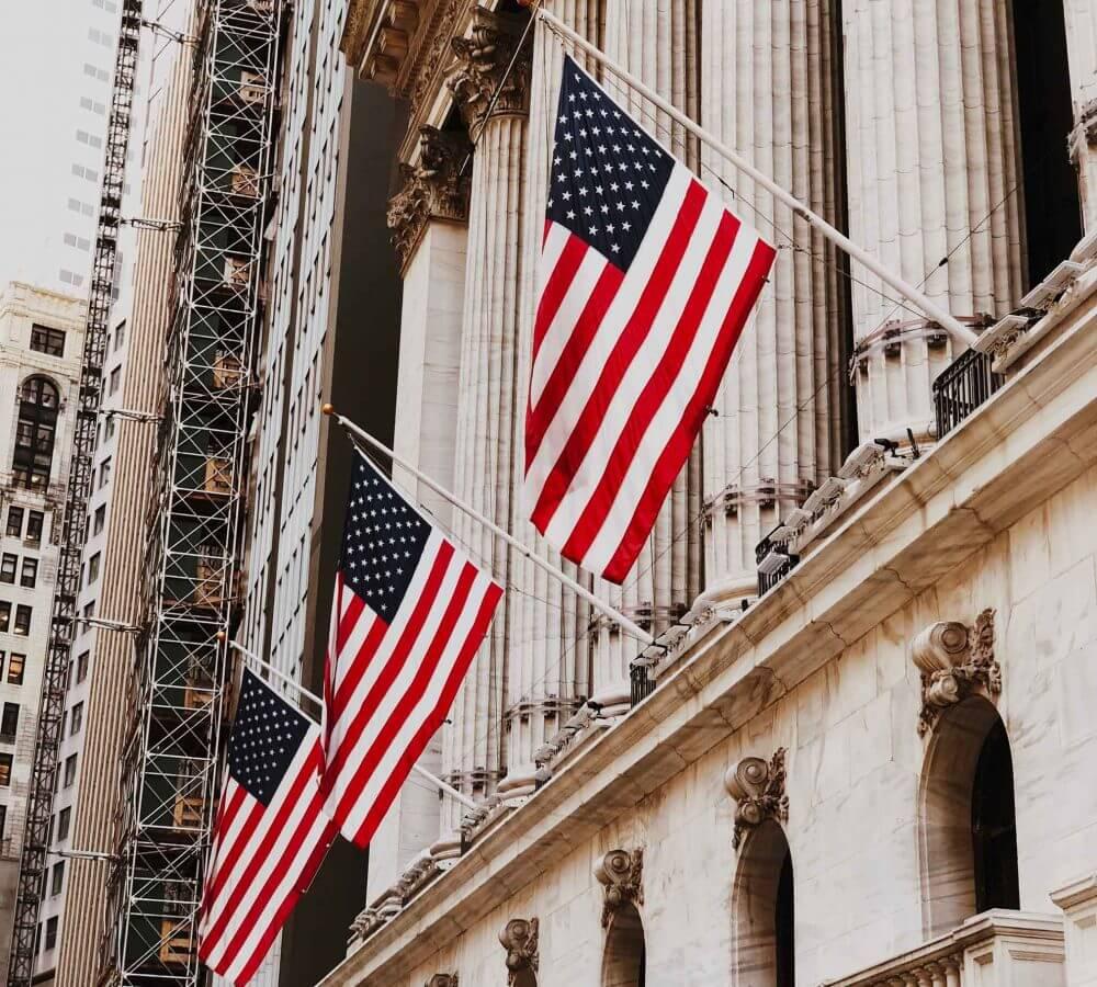 Three American flags
