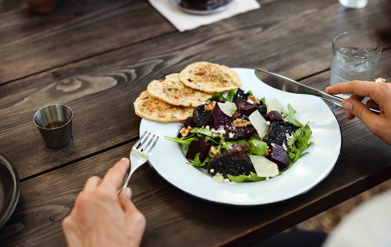 Hands eating healthy food