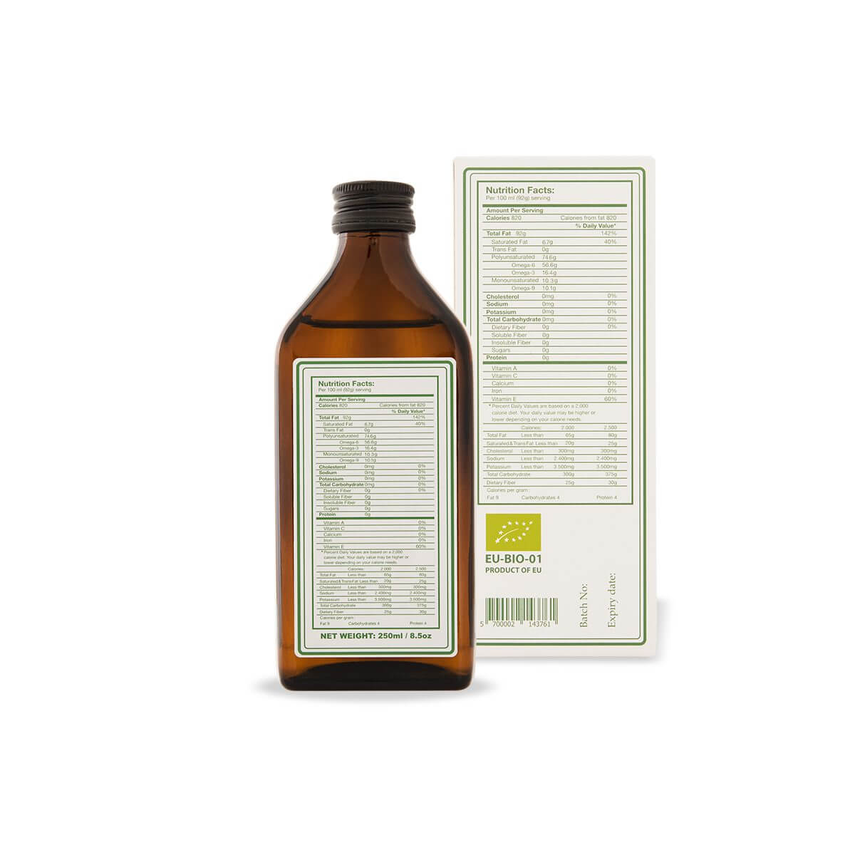 Hemp seed oil labels