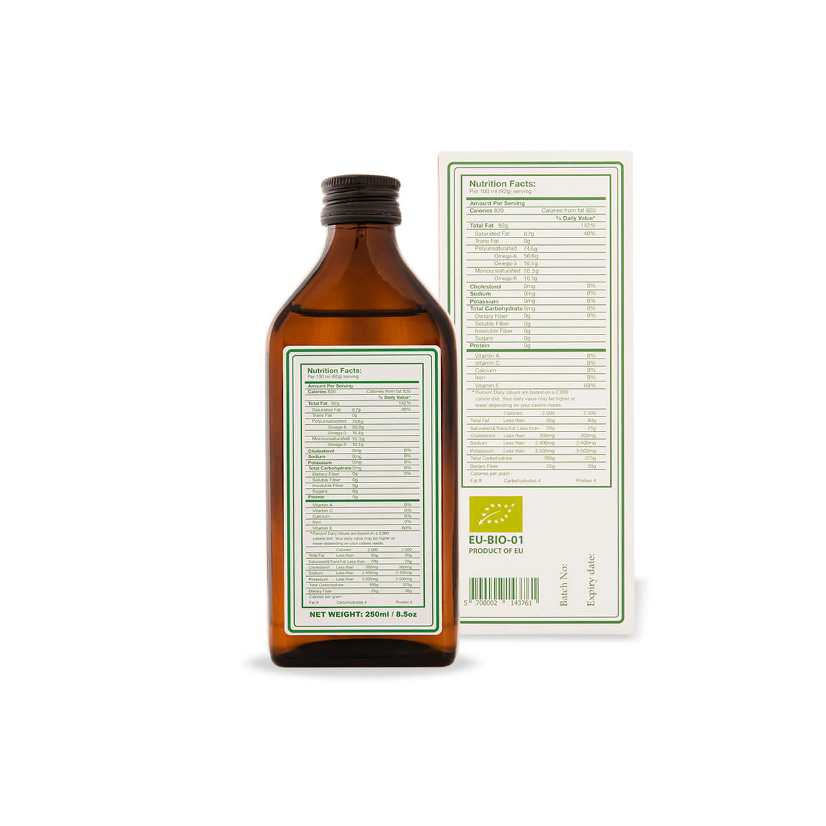 Hemp seed oil labels