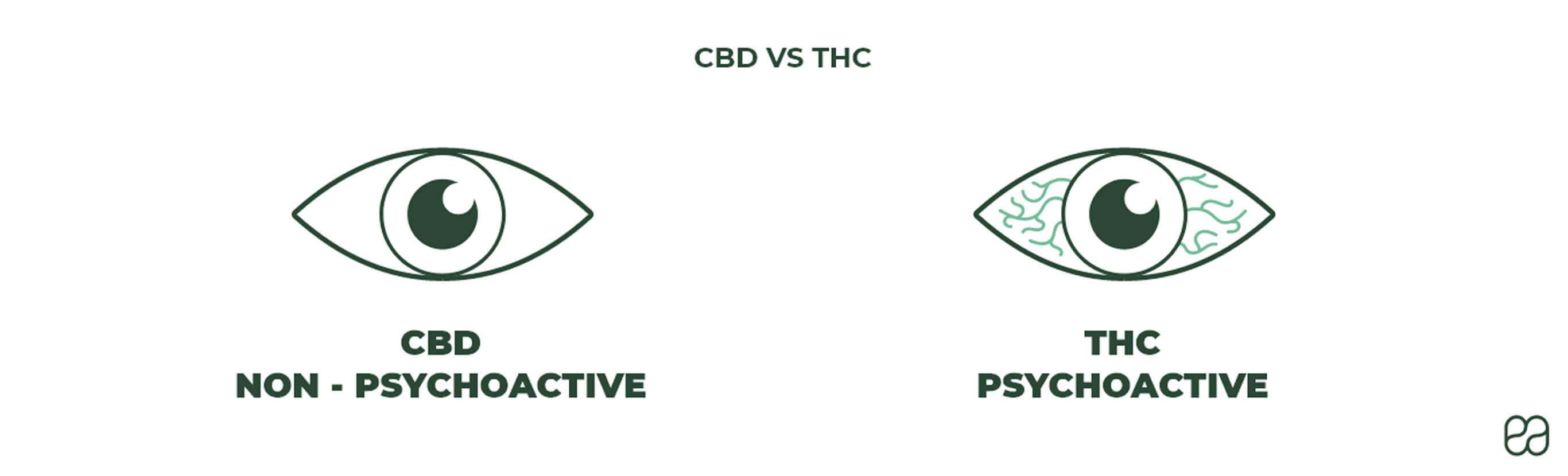 THC is psychoactive and CBD is non-psychoactive. THC will make you high, while CBD is known for its calming effects.