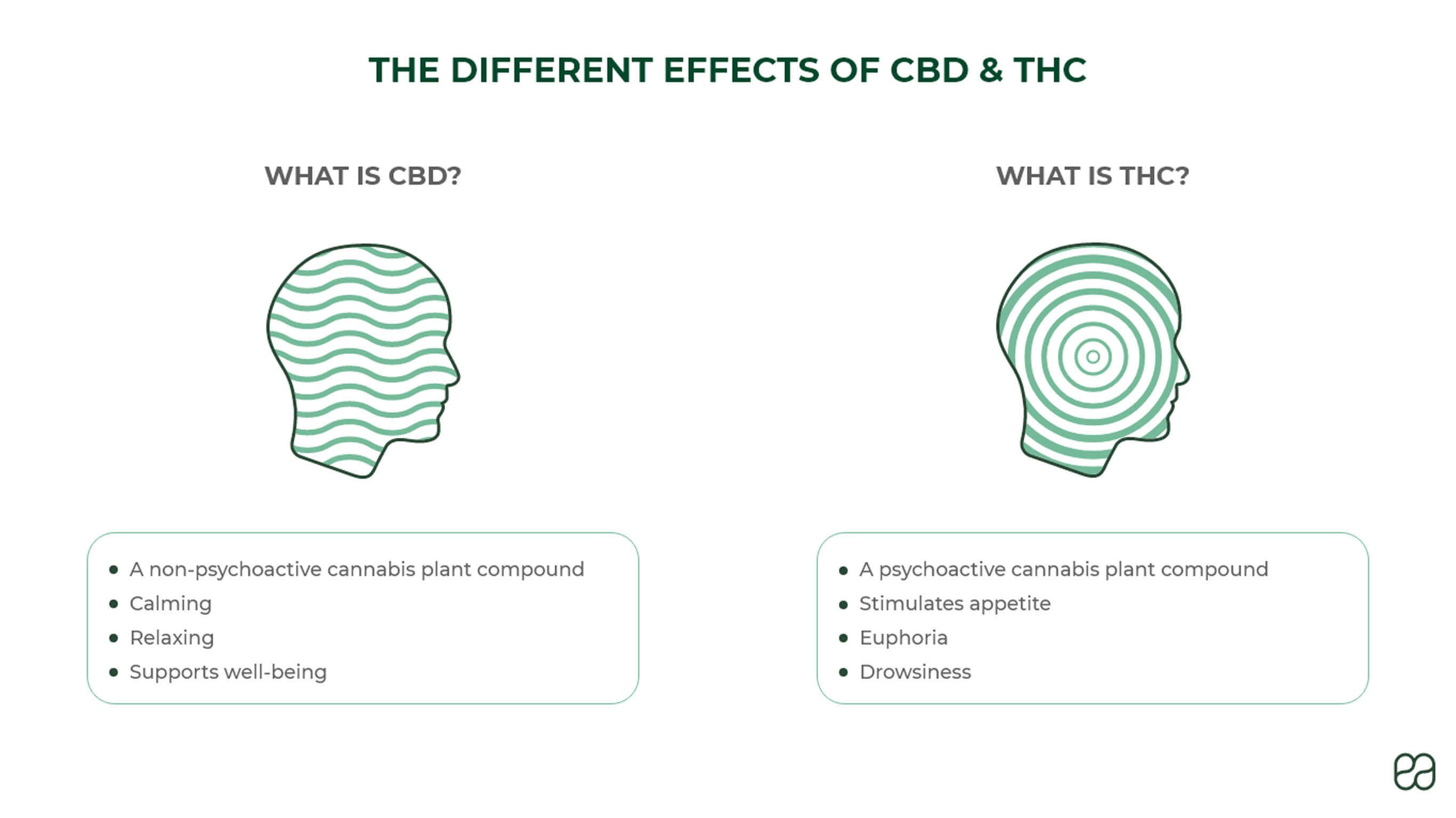 THC vs CBD: CBD is non-psychoactive and is relaxing. THC is psychoactive, increases appetite, causes euphoria & drowsiness