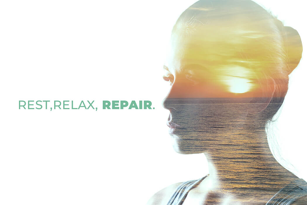 woman's face with the words rest, relax, repair