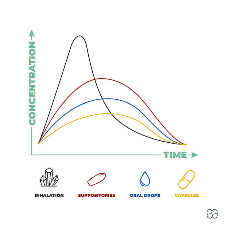 Infographic explaining the difference in absorption time of different CBD methods