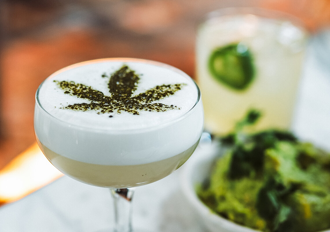 CBD cocktail with white foam