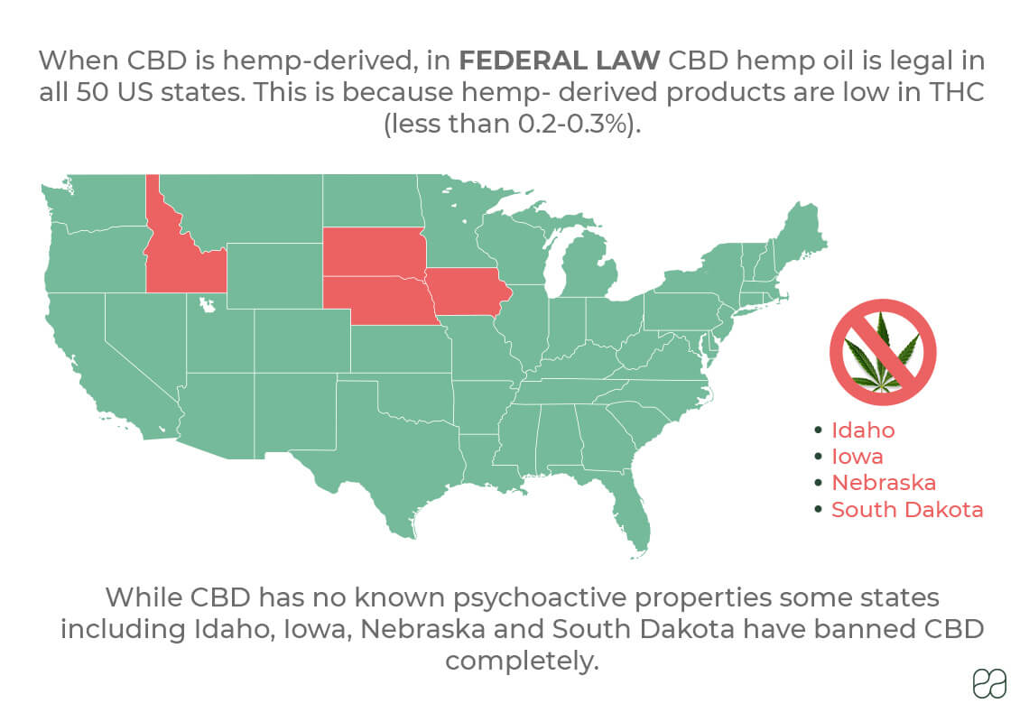 infographic of map of the United States with information on CBD regulations