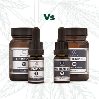 Endoca products RAW vs Decarb