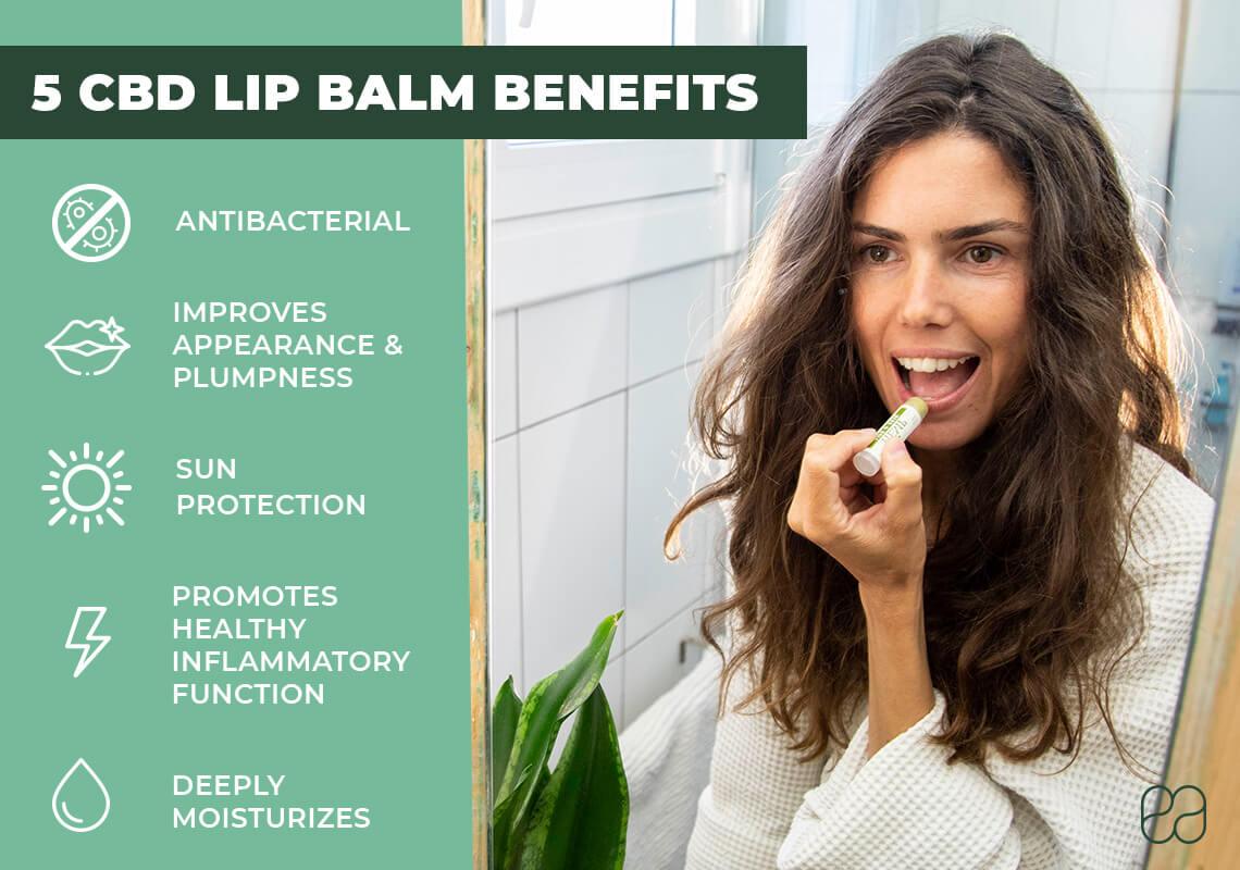 infographic on benefits of CBD lip balm
