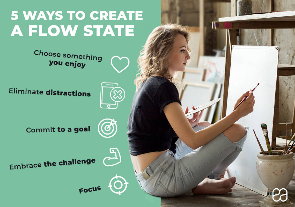 infographic about 5 ways to create a flow state